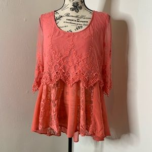 BKE | Pink Lace Overlay Mesh Sleeves Tunic B21
